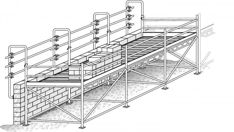 Tables à maçonner à montants de garde-corps type cols de cygne et lisses horizontales.
