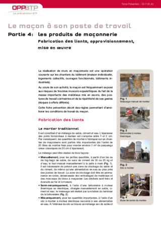 S102-Le maçon à son poste de travail (partie 4) - Prévenir les risques liés à la fabrication et à la mise en œuvre des produits de maçonnerie