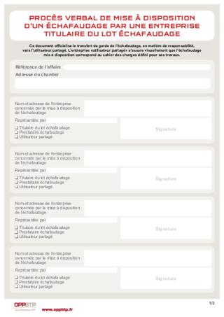 FOP 21 - Procès verbal de mise à disposition d'un échafaudage par une entreprise titulaire du lot échafaudage