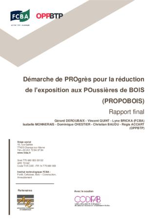 O85-Rapport Propobois- Démarche de progrès pour la réduction de l'exposition aux poussières de bois