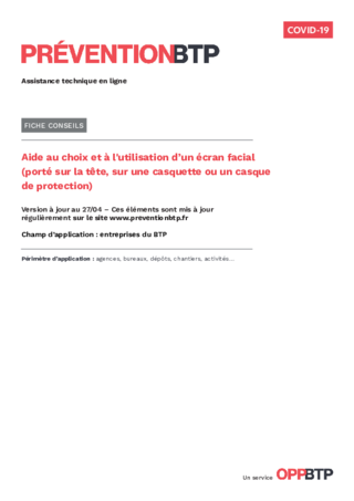 FOP44 - Aide au choix et à l'utilisation d'un écran facial