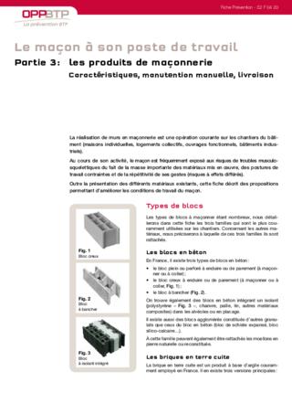 S101-Le maçon a son poste de travail (partie 3) - Prévenir les risques liés à l'activité de maçonnerie