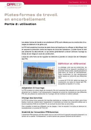 S182-Plates-formes de travail en encorbellement - Partie 2: utilisation