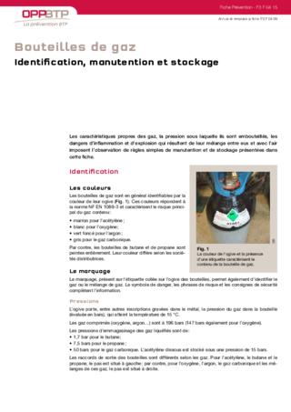 S12-Identification. manutention et stockage des bouteilles de gaz : les consignes de sécurité à respecter
