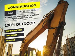 Visuel des Construction days, nouvel événement qui aura lieu à Lyon du 14 au 16 septembre 2021.