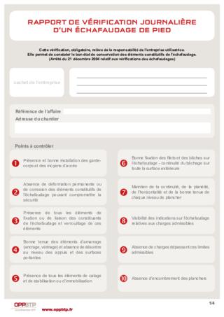 FOP 27- Rapport de vérification journalière d'un échafaudage de pied