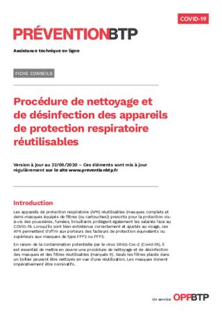 FOP57-Procédure de nettoyage et de désinfection des appareils de protection respiratoire réutilisables