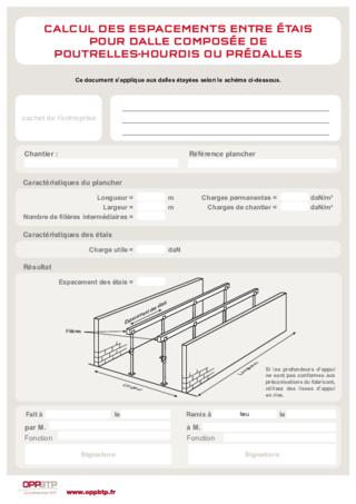 FOP 02 - Calcul des espacements entre étais pour dalle composée de poutrelles-hourdis ou prédalles