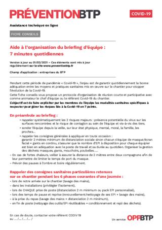 S824-Aide à l'organisation de briefing d'équipe