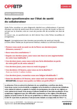 FOP46 - Covid-19 : Auto-questionnaire sur l'état de santé du collaborateur