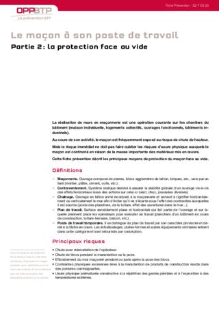 S100-Le maçon à son poste de travail (partie 2) - Protéger les maçons travaillant face au vide