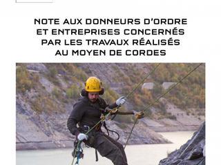 Note aux donneurs d'ordre et entreprises concernés par les travaux réalisés au moyen de cordes