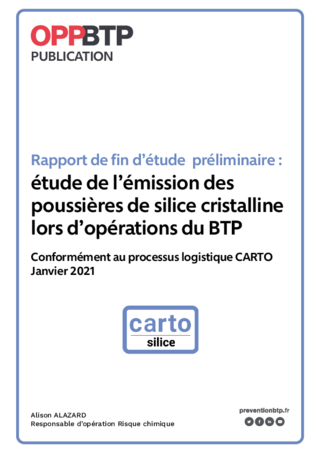 Rapport de fin d'étude préliminaire : étude de l'émission des poussières de silice cristalline lors d'opérations du BTP