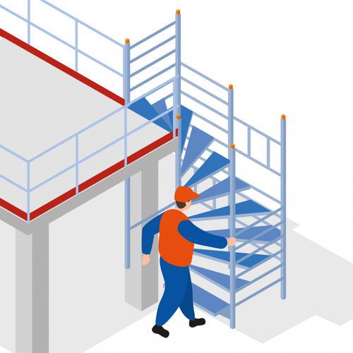 S360 - Un escalier tournant pour accéder en sécurité au poste de travail
