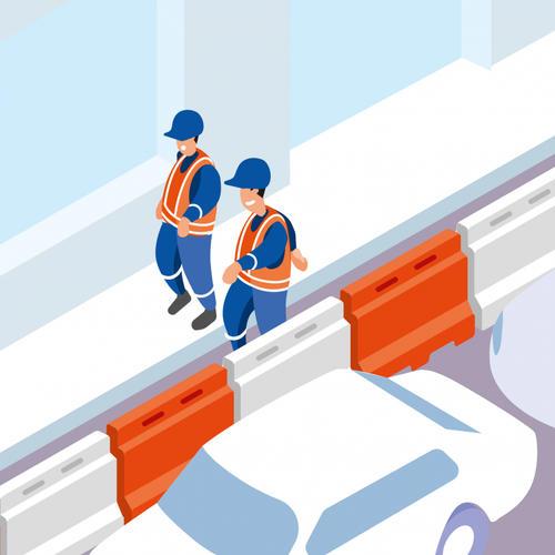 S473 - Utiliser des séparateurs modulaires de type « murs d'eau » en chantier urbain