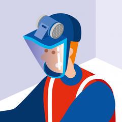 S533 - Protéger les ouvriers avec un masque facial à casquette anti-heurt et ventilation assistée