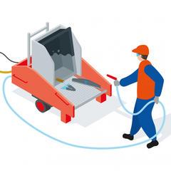 S259 - Un poste de lavage mobile, performant et écologique pour nettoyer les outils de maçonnerie