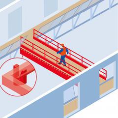 S347-Une passerelle métallique entre deux bâtiments en construction pour éviter les escaliers