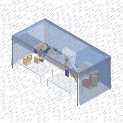 S709 - Une tente à montage rapide sur chantier pour effectuer les travaux de préparation en extérieur