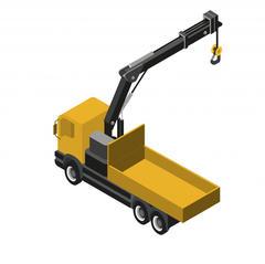 S695 - Un camion avec grue pour transporter et poser les matériaux sur chantier