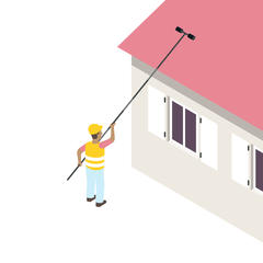 S419 - Démousser, traiter, nettoyer son toit ou sa façade depuis le sol à l'aide d'une perche